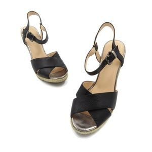 COLE HAAN Black Strappy Buckle Wedge Sandals